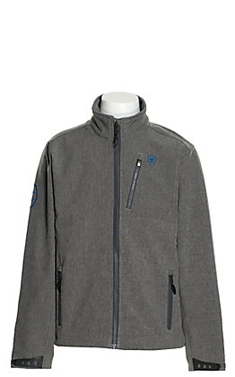 Ariat Boy's Logo 2.0 Charcoal Grey with Cobalt Blue Logos Softshell Jacket