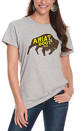 Ariat Women's Full Steam Grey Buffalo Logo Short Sleeve Tee - Cavender's Exclusive