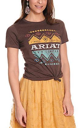 Ariat Women's Brown Navajo Aztec Logo Short Sleeve T-Shirt - Cavender's Exclusive