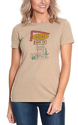 Ariat Women's Tan Vacancy Sign Short Sleeve Logo T-Shirt - Cavender's Exclusive