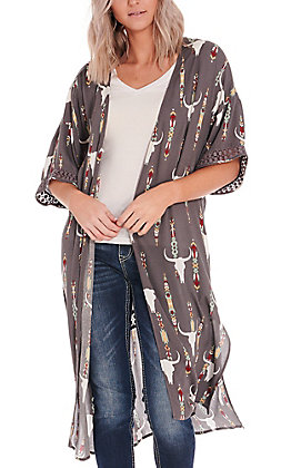 Ariat Women's Grey Steerhead Lace Trim Short Sleeve Duster Kimono - Cavender's Exclusive