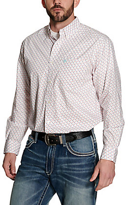 Ariat Men's Inman White with Multi Colored Print Long Sleeve Western Shirt