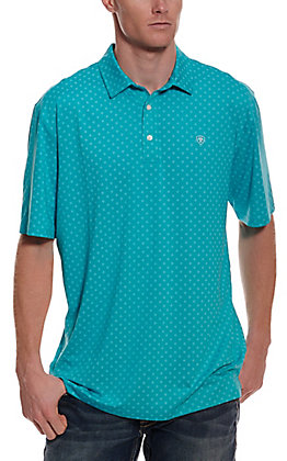Ariat Men's Spry Heat Series Turquoise with Diamond Print Short Sleeve Polo Shirt - Cavender's Exclusive