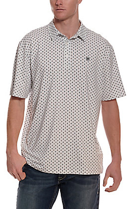 Ariat Men's Spry Heat Series White with Teal Diamond Print Short Sleeve Polo Shirt - Cavender's Exclusive