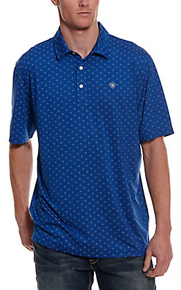 Ariat Men's Spry Heat Series Blue with Black and White Print Short Sleeve Polo Shirt - Cavender's Exclusive