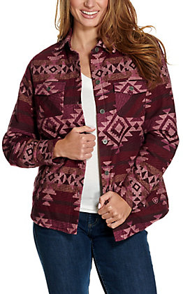 Ariat Women's REAL Shacket Burgundy Aztec Shirt Jacket