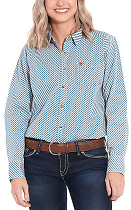 Ariat Women's Fleetwood Print Long Sleeve FR Work Shirt - Cavender's Exclusive