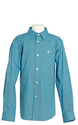 Ariat Boys River Blue Zilverton Geo Print Long Sleeve Western Shirt