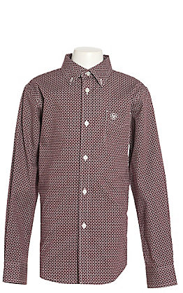 Ariat Boys Kerrigan Burgandy Geo Malbec Long Sleeve Western Shirt