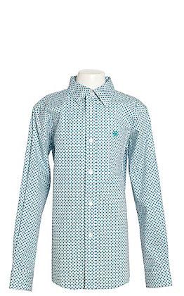 Ariat Boys Gatewood White with Aqua Geo Print Western Shirt