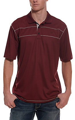 Ariat Men's Links 3.0 Burgundy with Grey Short Sleeve Polo Shirt - Cavender's Exclusive
