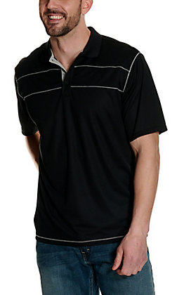 Ariat Men's Links 3.0 Black with Grey Short Sleeve Polo Shirt - Cavender's Exclusive