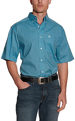 Ariat Men's Zilverston Turquoise and Navy Print Short Sleeve Stretch Western Shirt - Cavender's Exclusive