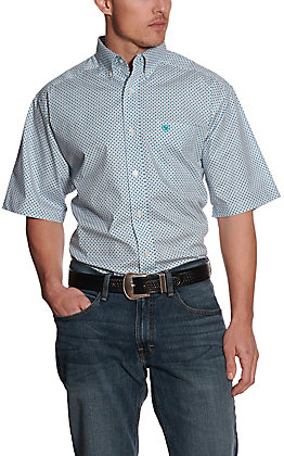 Ariat Men's Gatewood White with Turquoise Diamond Print Stretch Short Sleeve Big & Tall Western Shirt - Cavender's Exclusive