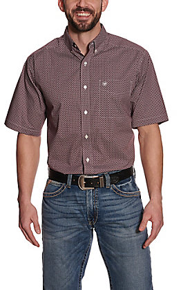 Ariat Men's Big & Tall Kerrigan Burgundy with White Print Short Sleeve Stretch Western Shirt - Cavender's Exclusive