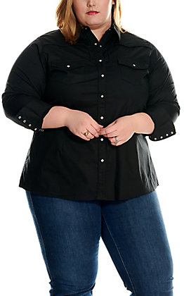 Ariat Women's Plus Size Black Retro Long Sleeve Western Shirt - Cavender's Exclusive