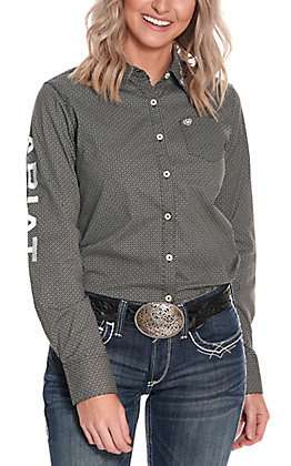 Ariat Women's Black Print with Logos Long Sleeve Western Shirt - Cavender's Exclusive