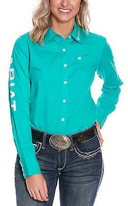 Ariat Women's Kirby Turquoise with Logos Long Sleeve Western Shirt - Cavender's Exclusive