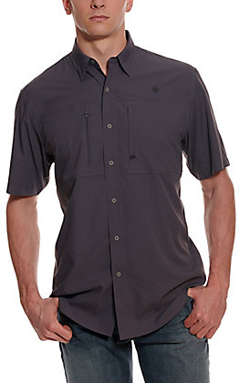 Ariat Men's VentTEK Charcoal Grey HeatSeries Short Sleeve Fishing Shirt - Cavender's Exclusive