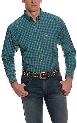 Ariat Men's Pro Series Ozark Turquoise & Black Plaid Long Sleeve Western Shirt - Cavender's Exclusive