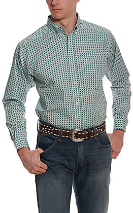 Ariat Men's Oldsmar White with Turquoise Geo Print Long Sleeve Stretch Western Shirt - Cavender's Exclusive