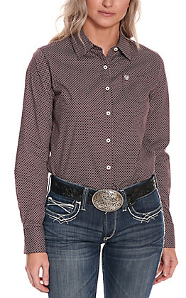 Ariat Women's Kirby Burgundy with White Grid Print Long Sleeve Western Shirt - Cavender's Exclusive
