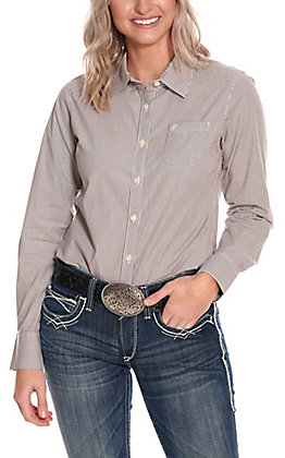 Ariat Women's Kirby Ancho Chili & White Stripe Long Sleeve Western Shirt - Cavender's Exclusive