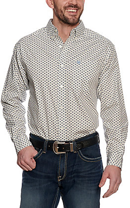 Ariat Men's Halifax White with Medallion Print Stretch Long Sleeve Western Shirt