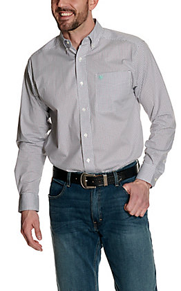 Ariat Men's Nemano White with Maroon and Turquoise Geo Print Stretch Long Sleeve Western Shirt