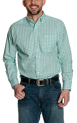 Ariat Men's Padmore Aqua with White and Navy Diamond Print Long Sleeve Western Shirt