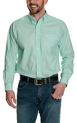 Ariat Men's Lucky Aqua with White and Navy Geo Print Long Sleeve Western Shirt