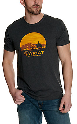 Ariat Men's Charcoal Grey with Sunset Cowboy Logo Graphic Short Sleeve T-Shirt