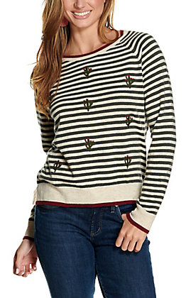 Ariat Women's Fonda Cream and Green Striped Cactus Embroidery Long Sleeve Sweater