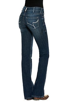 Ariat Women's R.E.A.L Agatha Dark Wash Mid Rise Boot Cut Jeans