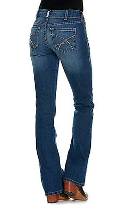 Ariat Women's REAL Silvia Medium Wash Mid Rise Boot Cut Jeans