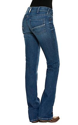 Ariat Women's R.E.A.L Sabrina Medium Wash Mid Rise Straight Leg Jeans