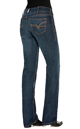 Ariat Women's R.E.A.L Macy Medium Wash Mid Rise Straight Leg Jeans