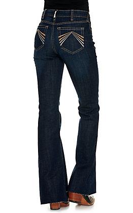 Ariat Women's REAL Avalynn Dark Wash High Rise Flare Leg Jeans