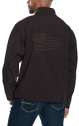 Ariat Men's Logo 2.0 Patriot Coffeebean Brown with Flag Embroidery Water Resistant Long Sleeve Softshell Jacket