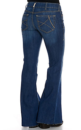 Ariat Women's REAL Medium Wash Topaz Mid Rise Stretch Flare Leg Jeans