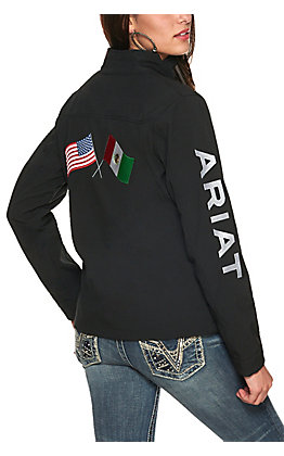 Ariat Women's Black USA and Mexico Flags Long Sleeve Team Jacket