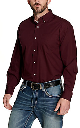 Ariat Men's Burgundy Wrinkle Free Long Sleeve Western Shirt