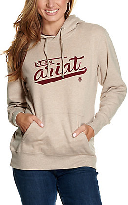 Ariat Women's REAL Oatmeal Heather with Burgundy Varsity Logo Hoodie