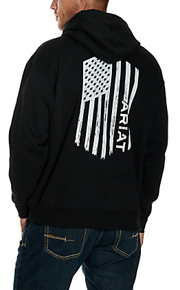 Ariat Men's Black Angle USA Flag Graphic Hoodie