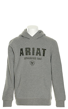 Ariat Boys' Grey with Black Digi Logo Hoodie