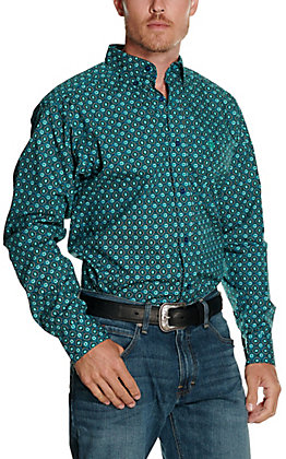 Ariat Men's Ohara Teal Geo Print Long Sleeve Fitted Western Shirt