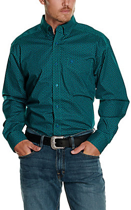 Ariat Men's Osmos Teal Geo Print Long Sleeve Stretch Western Shirt