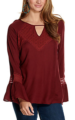 Ariat Women's Newman Burgundy with Crochet Long Bell Sleeves Fashion Top
