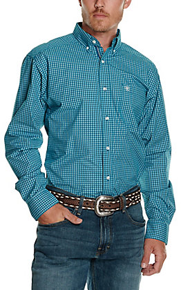 Ariat Men's Pro Series Olympus Teal and White Plaid Long Sleeve Fitted Western Shirt