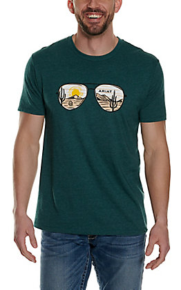 Ariat Men's Heather Teal with Desert Lens Graphic Short Sleeve T-Shirt - Cavender's Exclusive